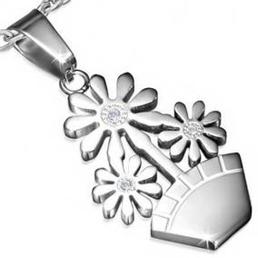 Dije De Acero Inox Plata Diseño Maceta De Flores Eg
