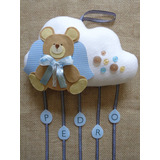 Enfeite De Porta Maternidade Menino Urso Nuvem Anjo Bebê