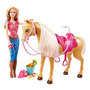 Barbie Feed & Abrazo Tawny Caballo Y Doll Playset