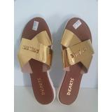Sandália Rasteira Dourada Dkarts , Super Confortáveis