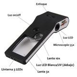 Lupa-microscopio 3x 10x 55x Con 4 Iluminaciones Led Y Uv