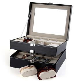 Organizador Caja De Joyas De Cuero Para Exhibir 20 Relojes
