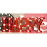 Cartel Luminoso Happy (rojo)