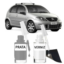 Tinta Tira Risco Automotivo Citroen C3 Prata Cor Original