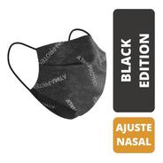 Barbijo Atom-protect Tapaboca Conicet  Negro Con Clip Nasal