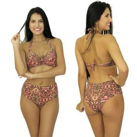 Biquíni Gordinha Bojo Shortinho Retrô Hot Pants 4009 Marrom