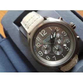 Reloj Hombre Nautica, Carátula Y Ext. De Piel Gris Weartruck