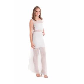 Vestido Longo Com Transparência Em Tecido Leve Telado