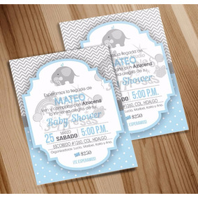 Invitación Imprimble Baby Shower Elefantito