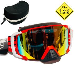 4c71abf6da3aa Óculos Motocross Jet Hawker Lente Espelhada Vermelho S Juros