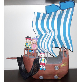 Adorno Torta O Central Porcelana Fria Barco Jake Y Pirata