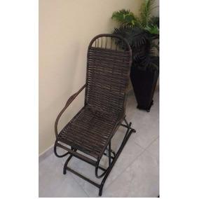 Cadeira Balanço Com Mola Base Fixa Varanda Material Em Fibra