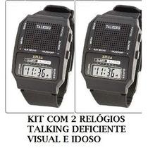 Kit Com 2 Relógio Talking Para Deficiente Visual Fala A Hora