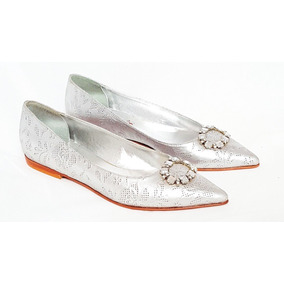 Zapatos Chatas Saverio Di Ricci Plateadas Divinas