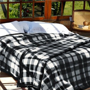 Cobertor Casal Guaratinguetá Boa Noite 180x220 Xadrez Preto