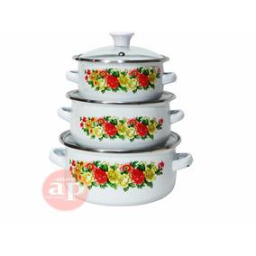 Panela Esmaltada Ágata 3 Peças Floral Cozinha Promoção Ap