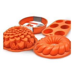 Forma Para Bolo De Silicone Kit Com 4 Unidades
