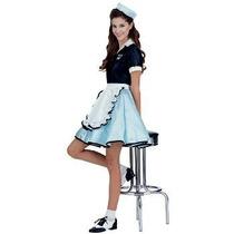 Car Hop Chica Adult Costume Años 50, Un Tamaño
