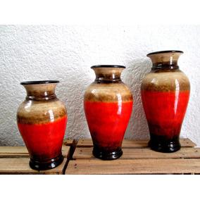 Artesanía De Barro - Juego De 3 Floreros - Centro De Mesa