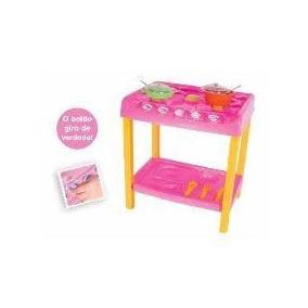 Fogão Infantil + Acessórios Rosa/amarelo+geladeira
