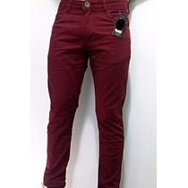 Calça Masculina Sarja Premium Skinny Lycra Color Vinho Preto