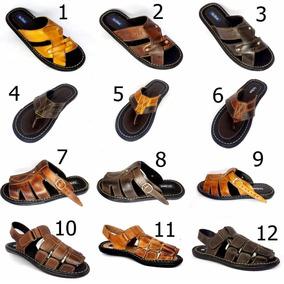 Kit 4 Sandálias Masculina Atacado Fabrica 100% Couro Shoes