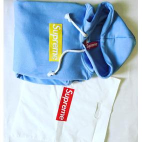 Hoodie Supreme Celeste Box Logo Amarillo +gratis Envio