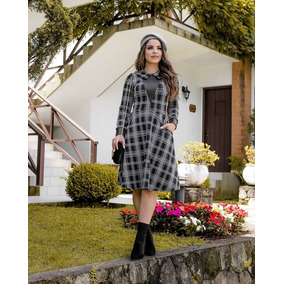 Vestido Boutique K 2000 Xadrez Preto