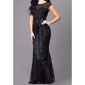 Vestido Sereia Longo Em Renda Para Festa,madrinha, Com Faixa