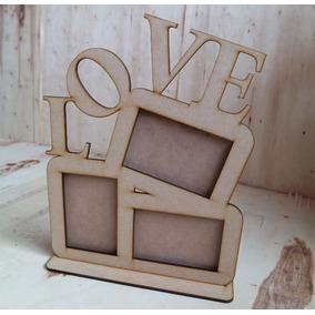 Portaretrato 3 Fotografías Mdf Madera Recuerdo Regalo Love