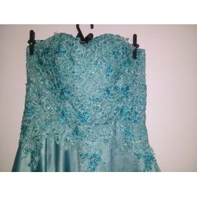 Vestido Para Festas 15 Anos Azul Com Renda Bordado.