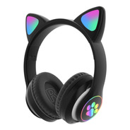 Audífono Bluetooth Led Rainbow Orejas De Gato Kawaii