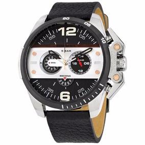 Reloj Diesel Extensible Negro Piel Con Caratula Plata Y Fond