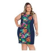 Vestido Plus Size Tubinho Florido Moda Evangélica Blogueira