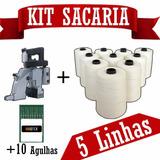 Máquina De Costurar Sacos + 10 Agulhas + 5 Linhas