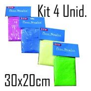 Pano Mágico Kit C/ 4 Panos Microfibra 30x20cm P/ Limpeza