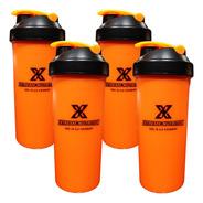 Kit Com 4 Coqueteleiras Laranja 700ml Extreme Nutrition