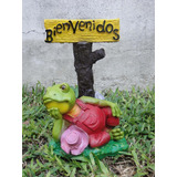 Sapo Rana Bienvenido 37cm Resina Decora Tu Casa Y Jardín