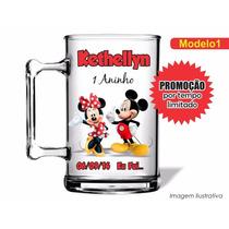 Kit C/ 50 Canecas Acrílica Mickey E Minnie Vermelha 350ml