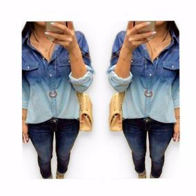Camisa Blusa Jeans Feminina Jeans Feminina Barata Tie Dye