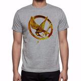Camiseta Cinza Mescla Jogos Vorazes Logo Em Chamas Mod. 2
