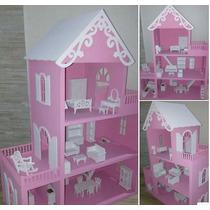 Casa Casinha De Bonecas Mdf Pintada Grande C/ Kit Móveis