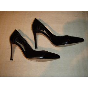 Zapato Gacel De Cuero Charol Y Hermoso Taco Nº 36. Negros.