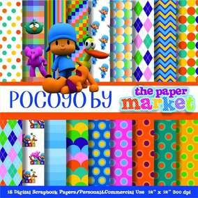 Kit Imprimible Pack Fondos Pocoyo 2 Clipart