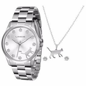 Relógio Lince Prata Feminino Kit Gato C Colar E Bri Lrmj063l