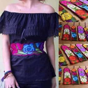 Lote 12 Fajas Artesanal Mexicanas Bordado Flores Zinacantán