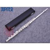 Flauta Transversal Júpiter Jfl-711 Prateada Ch Vazadas Pé Si