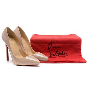 Sapato Louboutin Pigalle 120mm 3 Cores Preto Nude E Vermelho