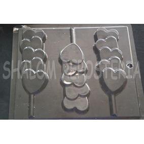 *molde Paletas Chocolate San Valentin #79 Fila 5 Corazones*