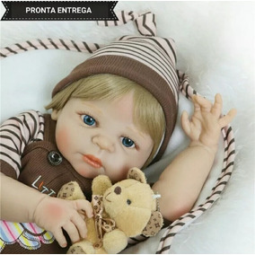 Bebe Reborn Pronta Entrega Menino Loiro Corpo Silicone 55cm
